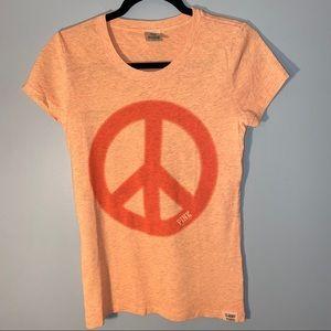 PINK Peace Sign Short Sleeve Tshirt Medium